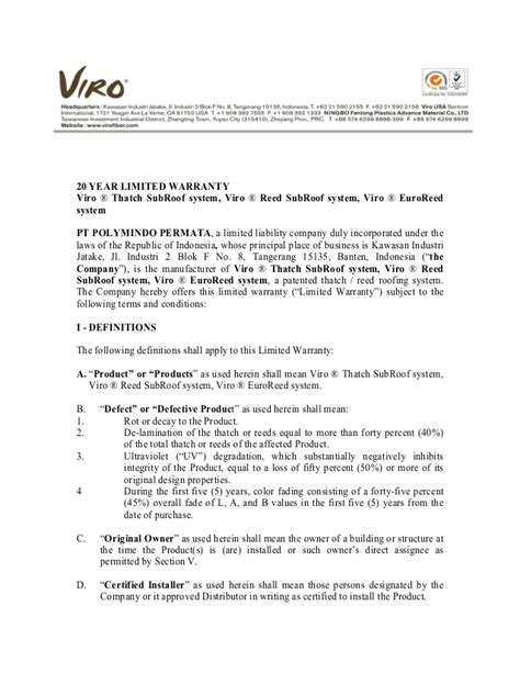 Service Guarantee Letter 010 Warranty Letter Of Viro Thatch