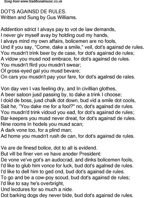 new rules lyrics old time song lyrics for 52 dots againsd de rules