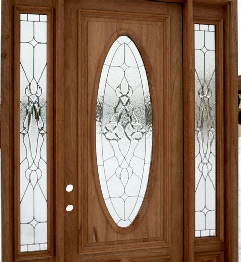Fiberglass Exterior Doors With Glass Insert And Oak Wooden