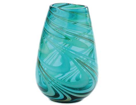 Swirl Glass Vase by Steinhafels Wide Green Swirl Glass Vase