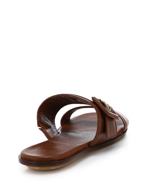 leather buckle sandals cole haan amavia leather buckle slide sandals in brown lyst
