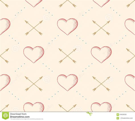 seamless multicolor arrow pattern stock vector image seamless pattern with heart and arrow in vintage style