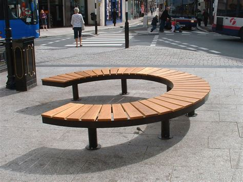 street furniture bench sectional curved steel and wood bench chronos 90 176 by