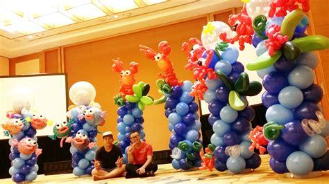 Balloon decoration underwater theme columns jocelynballoons the leading balloon decoration
