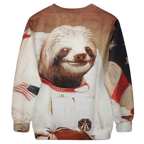 Meme Sweater - astronaut space sloth animal meme graphic print sweater
