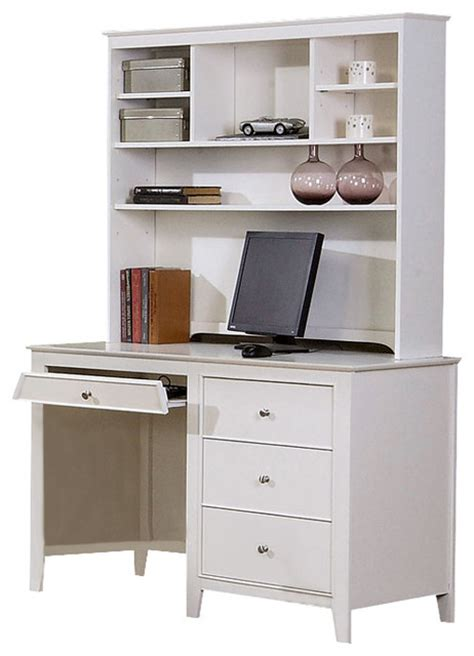 Youth White Computer Desk W Hutch Traditional Desks White Desk And Hutch