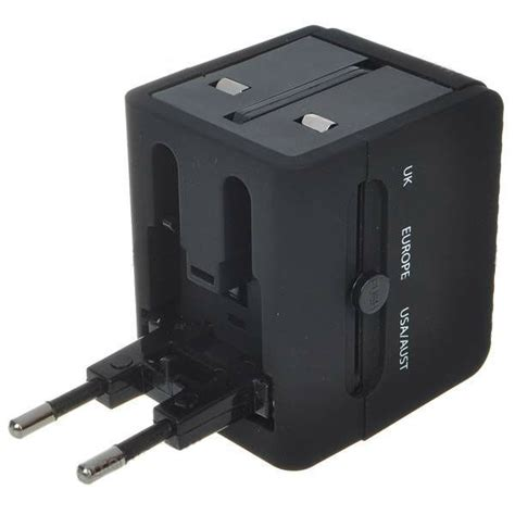 Travel Adapter Universal Eu Uk Us Dengan 1a Usb Port travel adapter universal eu uk us dengan 1a usb port black jakartanotebook