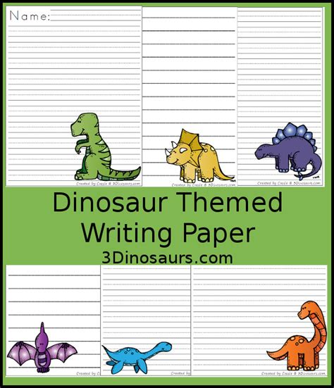 dinosaur writing paper roaring dinosaur themed writing paper for 3 dinosaurs