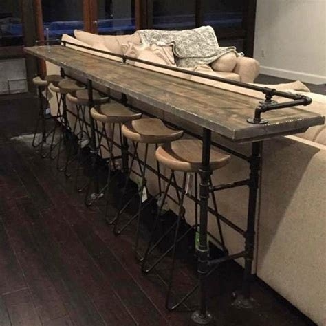 B D Upholstery by Source Home Wooden Bar Table Iron Pipe