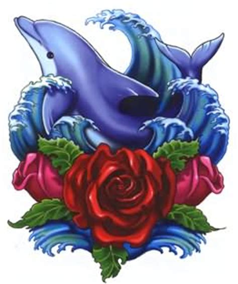 dolphin rose tattoo 35 awesome dolphin designs