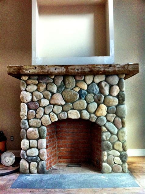River Rock Veneer Fireplace by River Veneer Fireplace Sapia Builders Corp