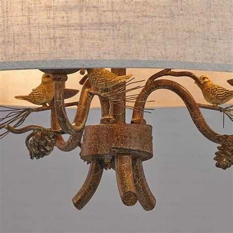 5 light drum shade chandelier rustic drum shade chandelier 3 light bird decoration