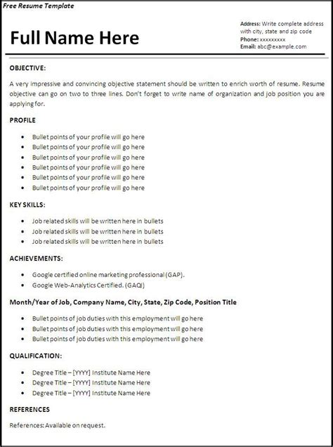 easy resume samples download free examples simple builder objective