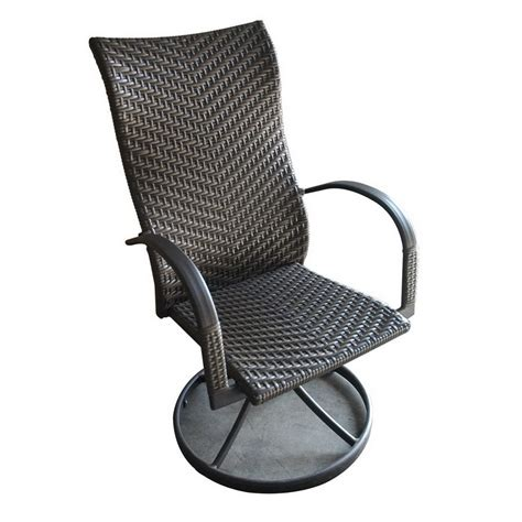 Shop Outdoor Greatroom Company Set Of 2 Naples Woven Seat Outdoor Swivel Dining Chairs