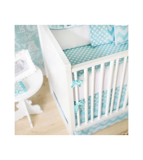 Zig Zag Crib Bedding Set New Arrivals Zig Zag Aqua 4 Baby Crib Bedding Set