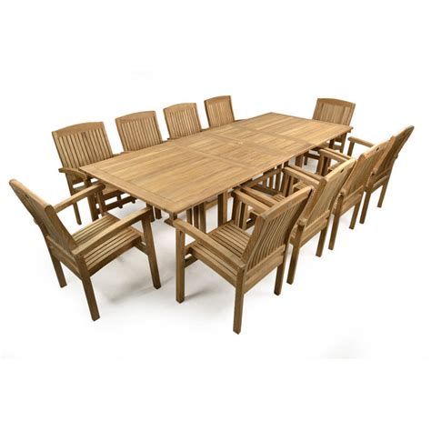 Teak Garden Extending Table And 10 Chairs Patio Set Teak Patio Table And Chairs