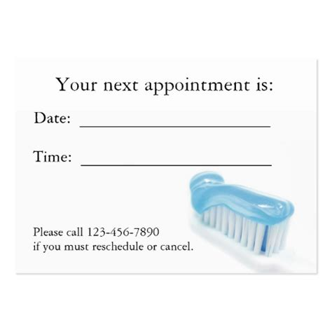 appointment card template free dental appointment card business card template zazzle