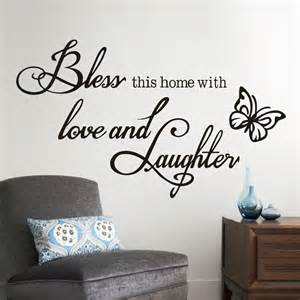 Word Art Stickers For Walls english quote bless this home with love and laughter wall