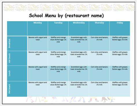 weekly school menu template word templates