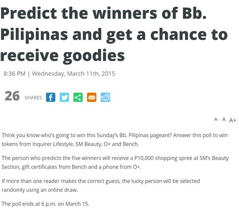 here s another bb pilipinas 2015 prediction contest you
