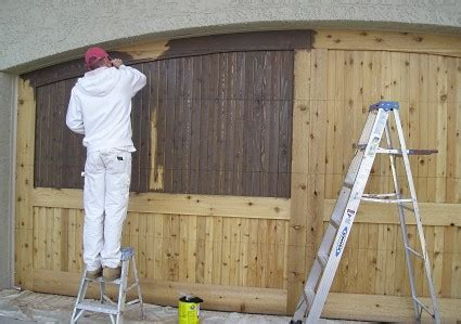 stain  wood garage door