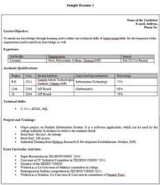 resume sle for fresher resume format for freshers in banking sector resume format