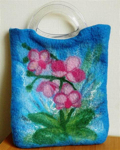 felt orchid pattern orchid felted bag handmade wet felted wool purse by