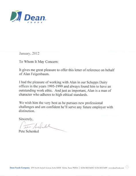 Work Experience Letter Current Employer Dean Foods Recommendation Letter