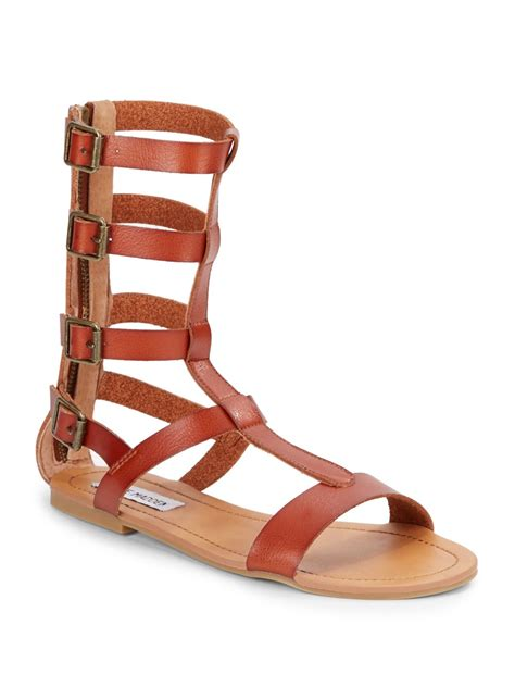 cognac flat sandals steve madden gunterr gladiator flat leather sandals in