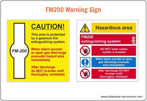 Sign Label Server Room data center suppression systems fm 200 system design