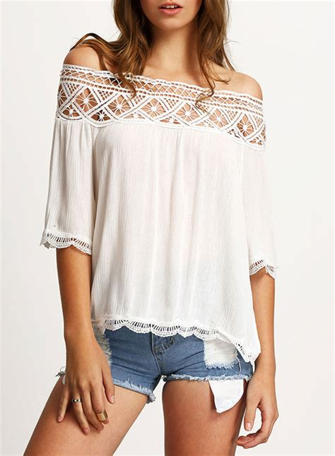 Shoulder Blouse And by S Casual Shoulder Half Sleeve Lace Panel Blouse
