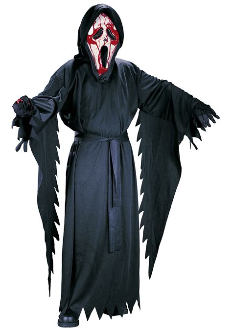 halloween scream themes child bleeding ghost face costume