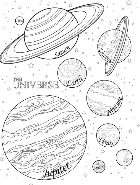 planets coloring worksheet with colors pics about space