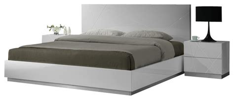jm naples glossy white lacquer finish queen size bedroom set modern beds  nationwide
