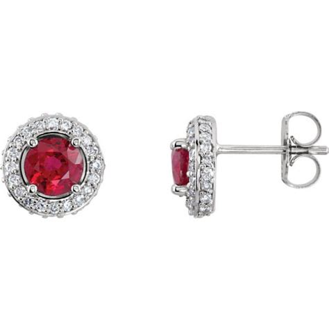 Ruby 6 8ct ruby and 3 8ct entourage earrings in 14kt white gold
