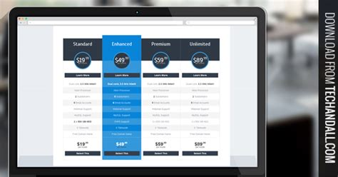 Clean Css Based Pricing Table Welcome To Tech All Pricing Html Templates