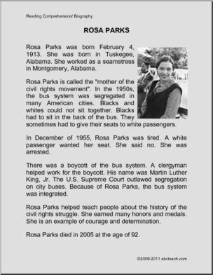Rosa Parks Biography For Students | biography rosa parks primary elem abcteach