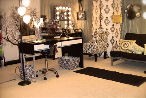 black and white home design inspiration alternative acrylic makeup storage filming studio