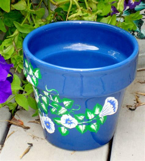 Blue Planter Pot blue flower pot planter with blue and white flowers on luulla