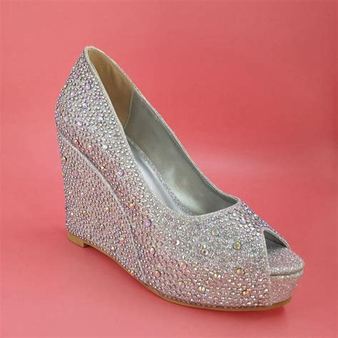 silver wedding shoes wedges silver wedding shoes wedges heel rhinestone open toe 2015