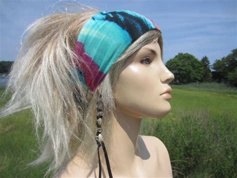 wide knit hair band wide knit headband hair band hair wrap blue watercolor