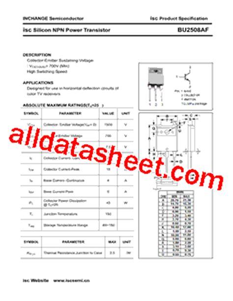 transistor company bu2508af datasheet pdf inchange semiconductor company limited