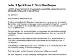 Appointment Letter Sample For Committee Letter Of Appointment