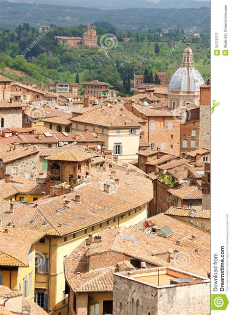 ancient green roofs glimpse of siena royalty free stock photography image