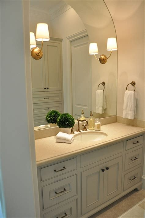 beautiful bathroom brass hardware gray sconces