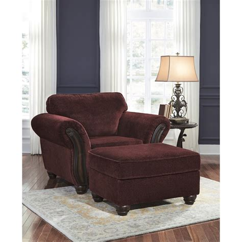 Burgundy Accent Chairs Living Room Chesterbrook Accent Chair With Ottoman In Burgundy 88102 20 14 Pkg