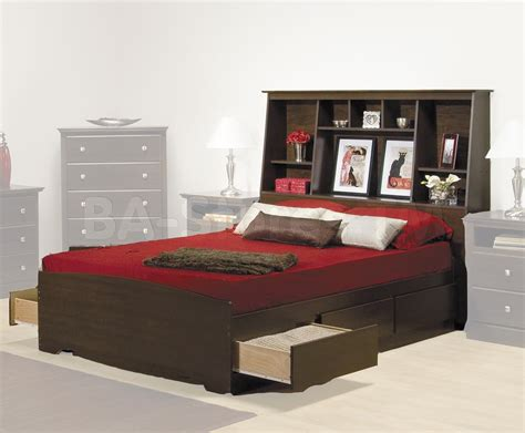 queen storage bed with bookcase headboard prepac fremont platform storage bed with bookcase