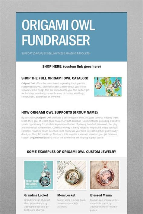 Origami Owl Brochure - origami owl fundraisers and owl on