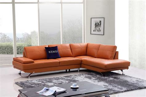 Orange Modern Sofa Modern Orange Leather Sofa Vg496 Leather Sofas