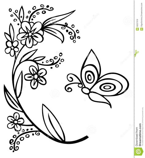 Outline Of Flowers And Butterflies by Branch Flower And Butterfly Stock Vector Image 59227018